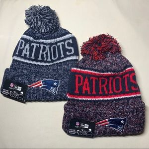 2 New England Patriots navy beanie hats